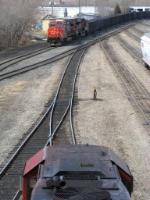Cn coal train pulls through CP's westfort yard