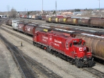 The Bowater Geeps pull through westfort yard as 441 and a box train wait to depart