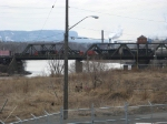 Cn headed over the mission swing bridge with a NS C40-8 leading!!!
