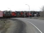 NS 8302 leads 4 cn units through town