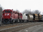 CP 5420 maybe the only 5400 in road serive and in fresh paint pulls out of E yard with SOO 6039 trailling