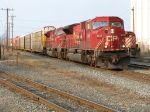 CP 9125 and 9136 accelerate out of town after making a crew change