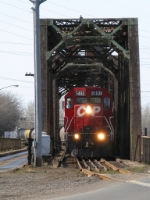 Cp 5492 over the mission swing bridge.