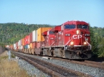 CP 8762 leads an eastbound intermodel through Mackenzie
