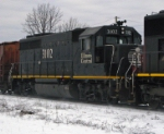 IC 3102 the trailling unit on CN 840 a loaded grain train