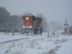 CN 8803 back through down in this April Snow Storm