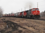 CN 2683 leads a empty grain train through town