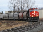 Cn 437 with 2236 solo pulls 86 grain empties through town