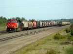 CN 2267 in DPU after bringing in a 151 car loaded grain train