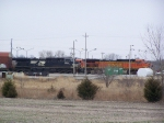 West-bound Trains Sit on the Ravenna Just West of Lincoln