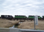 Three Different Geeps Help Pull Mixed Freight North Along the Marshall Sub