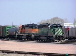 A Pair of SD40-2's Sit With a Freight Consist in the BNSF Yard