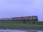 Southbound Grain Train on an Overcast Day