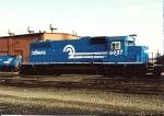 Sporting a bay window but no slug, SD38 6937 sits on one of the ramp tracks at  Oak Island