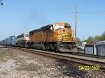 BNSF 9875 leads westbound CN train