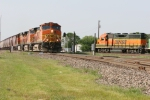 BNSF 5361 leads 110 loads of grain south