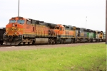 BNSF 4491 heads up an eclectic array of BNSF power that are tied down