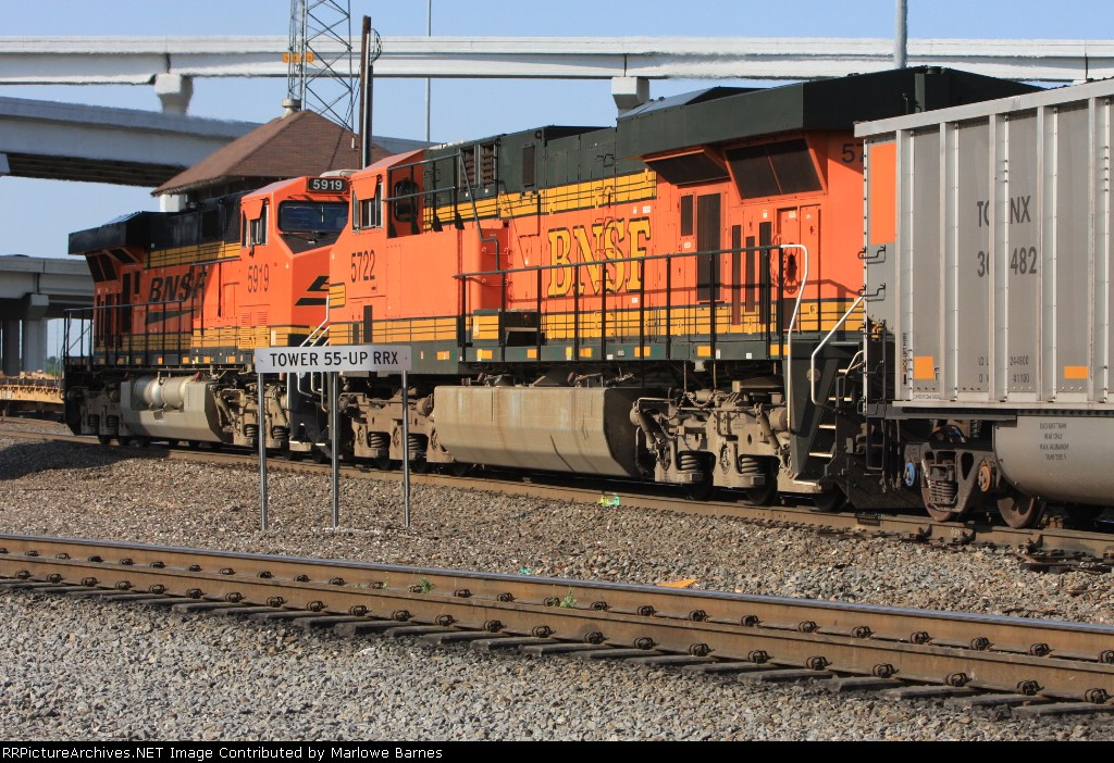 BNSF 5722 and 5919 gently nudge a SB  coal drag.