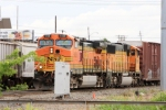 Northbound BNSF 5138 & 8866 overtake a UP train