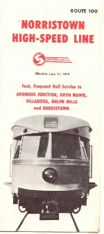 P&W SEPTA TIMETABLE COVER 6-17-74