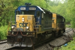 CSX 8080 does a run around it's MOW hoppers parked on the siding