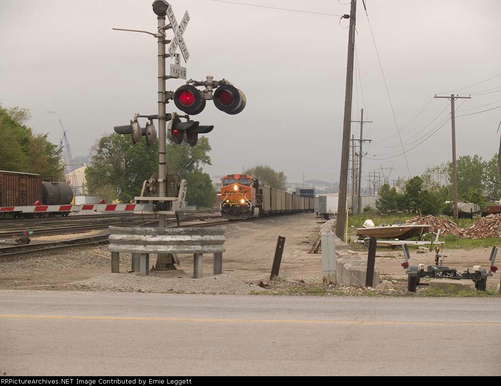 BNSF 5920 waits for a switch in a EB coal train at 10:01am