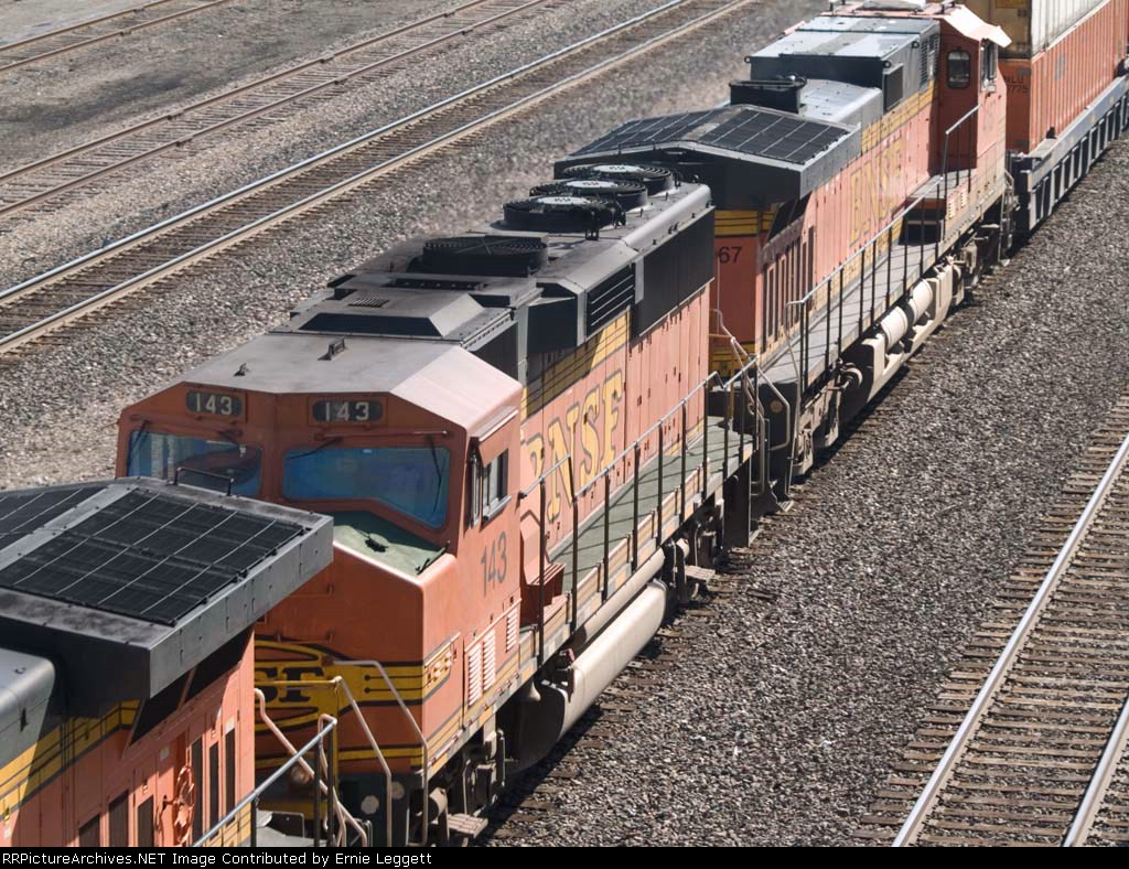 BNSF 143 #2 power in a WB doublestack at 9:23am