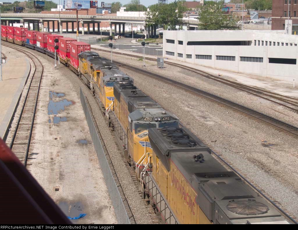 UP 4392 #2 power in an EB doublestack at 10:26am