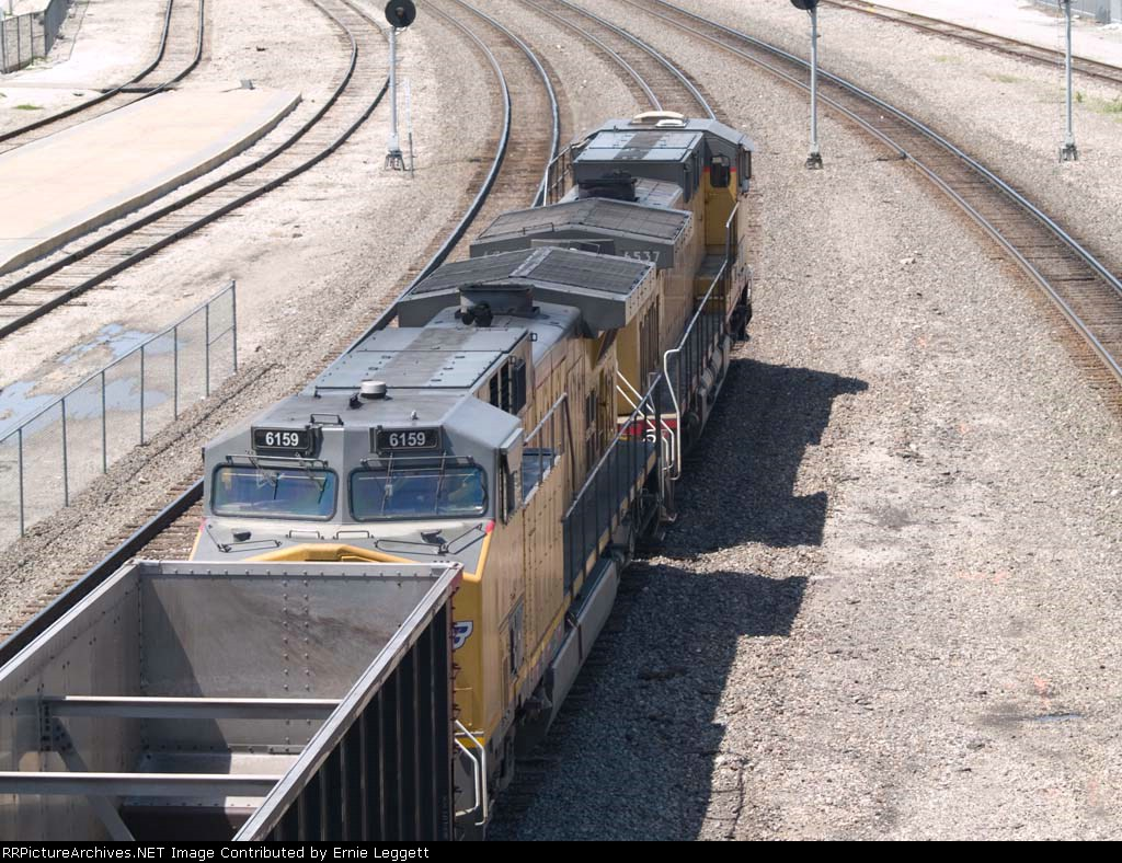 UP 6159 #2 power in an EB empty coal train at 12:02pm