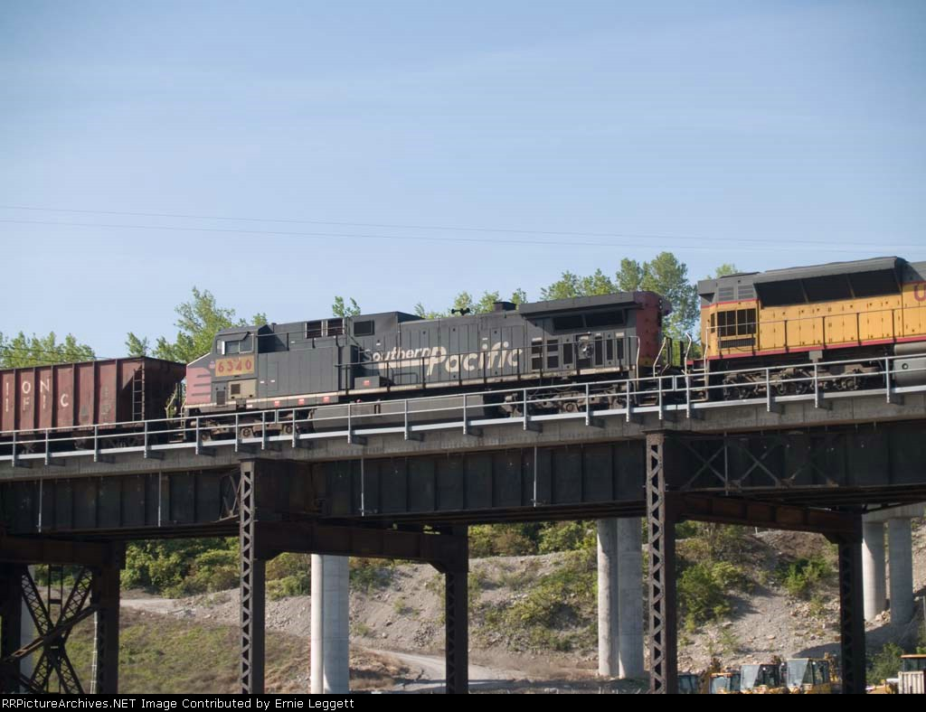 UP 6340 #3 power in a WB coal train at 9:07am