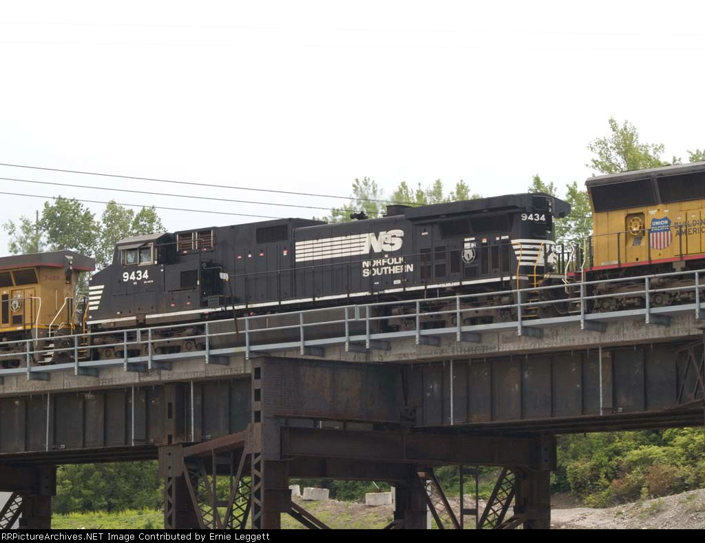 NS 9434 #2 power in a WB coal train at 2:15pm