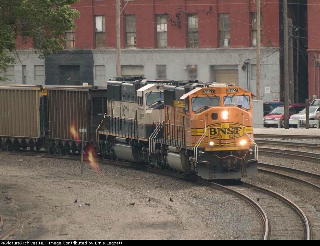 BNSF 8827 and BNSF 9611 lead a WB coal train at 5:39pm