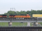 BNSF 7714 #4 power in a WB piggyback at 10:51am