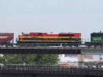 KCS 4053 #4 power in an EB grain train at 11:13am