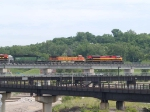 KCS 3997 leads multicolor power in an EB grain train at 11:13am