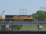 UP 5493 leads an EB doublestack at 12:42pm