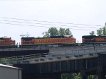 BNSF 831 #4 power in an EB doublestack at 1:08pm