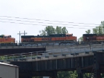 BNSF 993 #5 power in an EB doublestack at 1:08pm