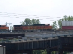 BNSF 5077 #6 power in an EB doublestack at 1:08pm