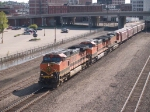 BNSF 1097 leads a WB grain train at 9:17am