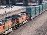 BNSF 4927 #3 power in a EB doublestack at 10:00am