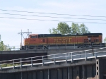 BNSF 5266 leads an EB doublestack at 8:38am