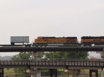 BNSF 5370 #4 power in a EB piggy-back at 5:38pm