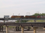 BNSF 342 (#3) and BNSF 5370 (#4) in a EB piggy-back at 5:38pm