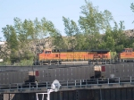 BNSF 4167 leads an EB doublestack/piggyback at 5:38pm
