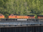 BNSF 919 #3 power in an EB doublestack/piggyback at 5:48pm