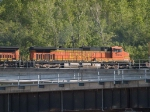 BNSF 4047 #4 power in an EB doublestack/piggyback at 5:48pm