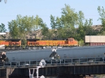 BNSF 4189 #4 power in an EB doublestack/piggyback at 5:56pm 