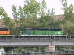 BNSF 7108 #2 power in an EB piggyback at 5:23pm