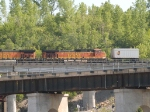 BNSF 4387 #4 power in an EB piggyback at 4:34pm